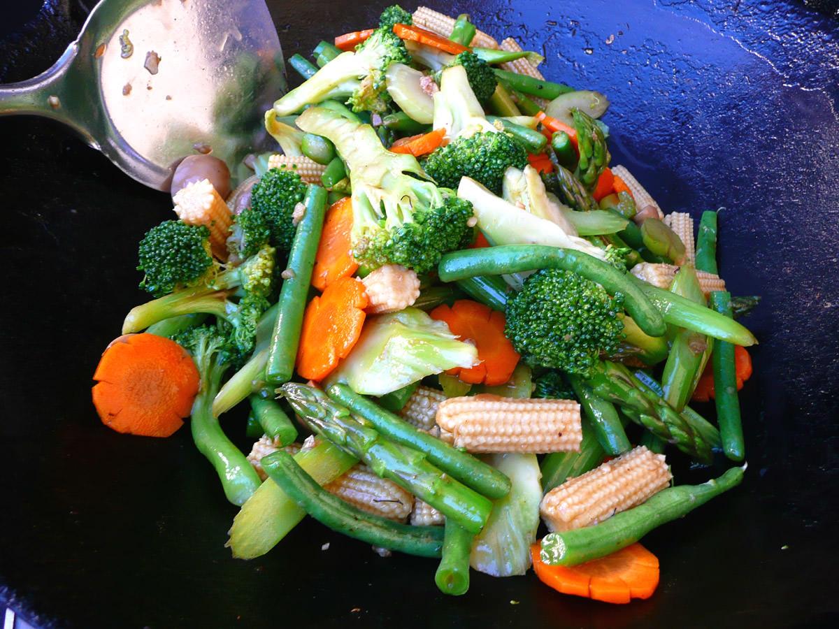 Stir-frying the vegies