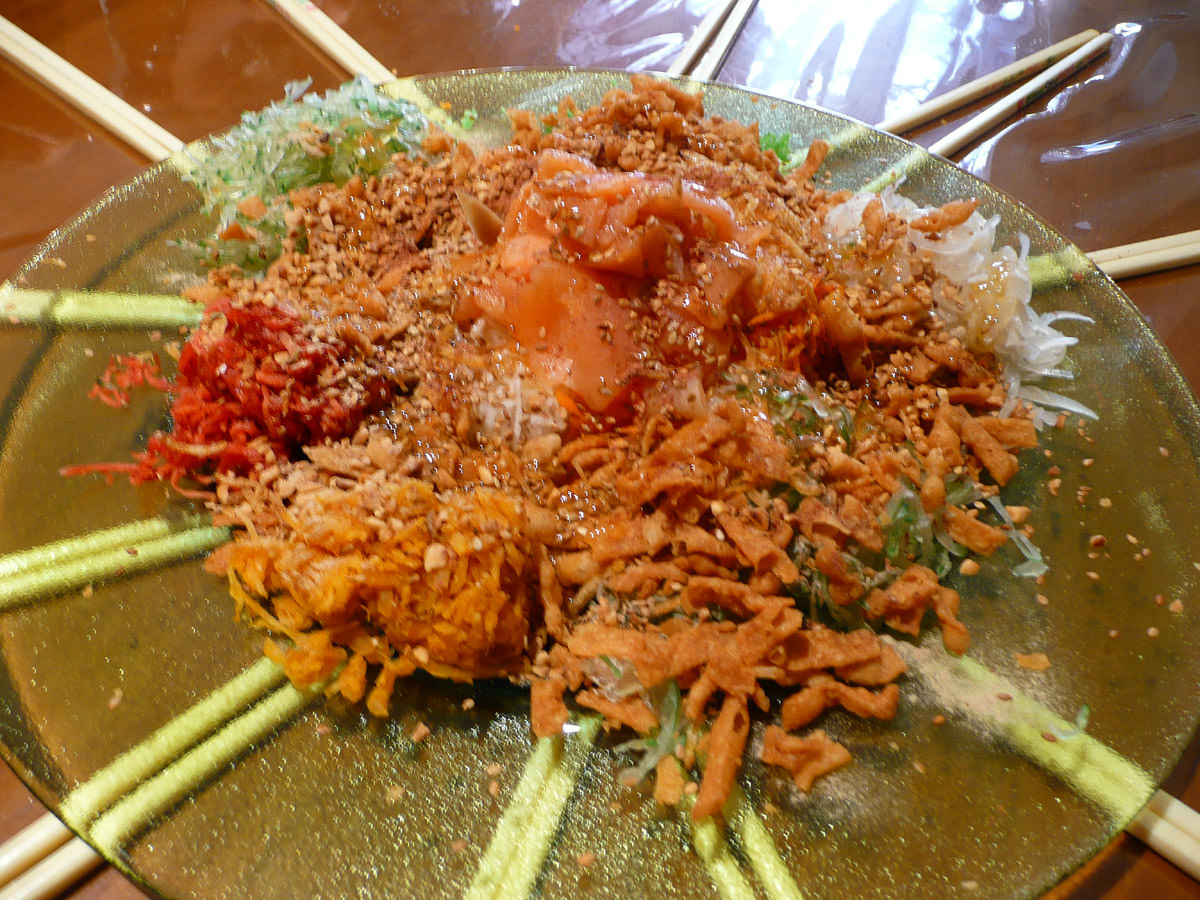 Yee sang assembled before mixing