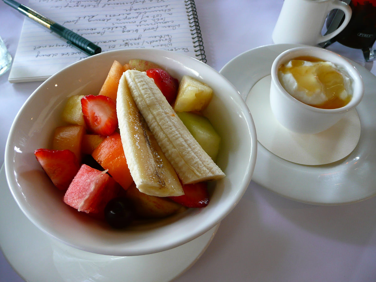 Fruit salad, sheep's milk yoghurt and an interviewer's notes