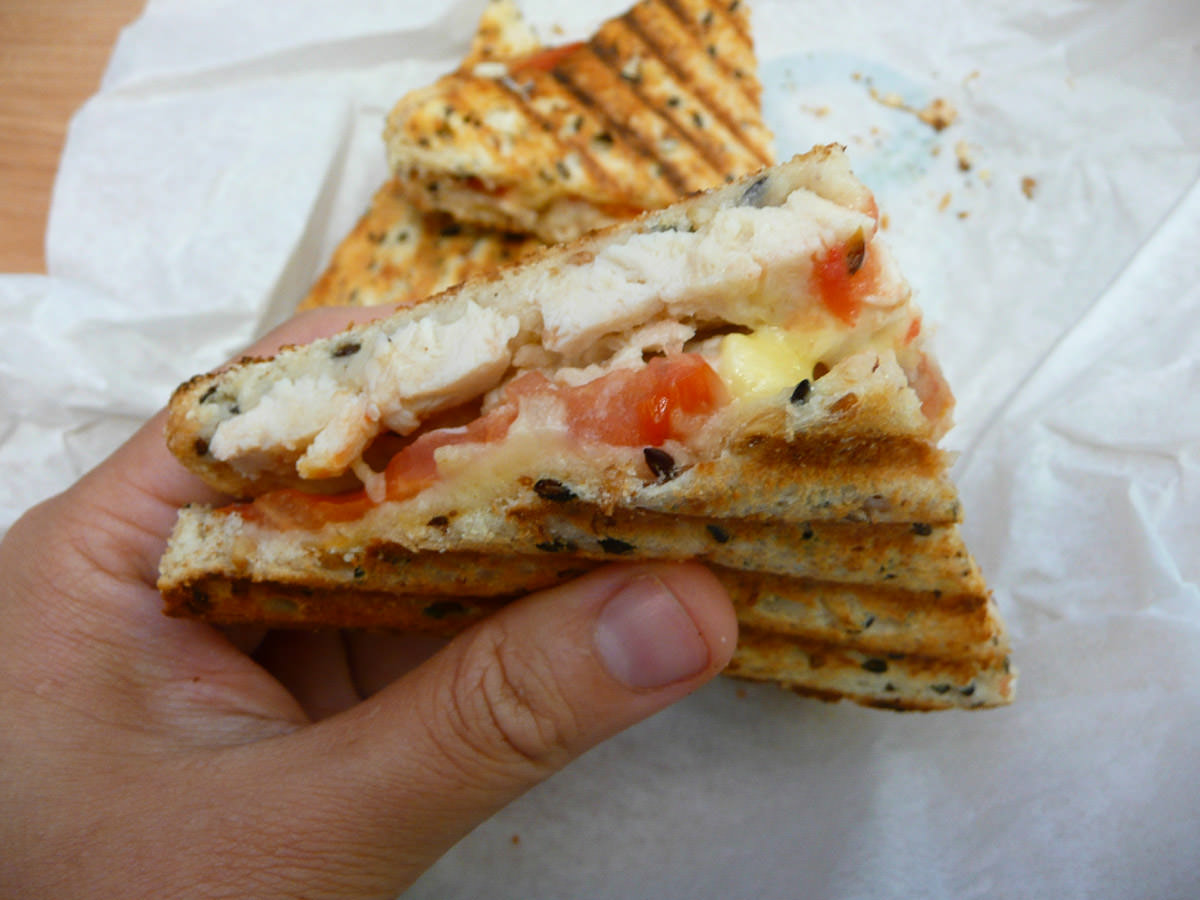 Chicken, tomato and Swiss cheese toasted sandwich
