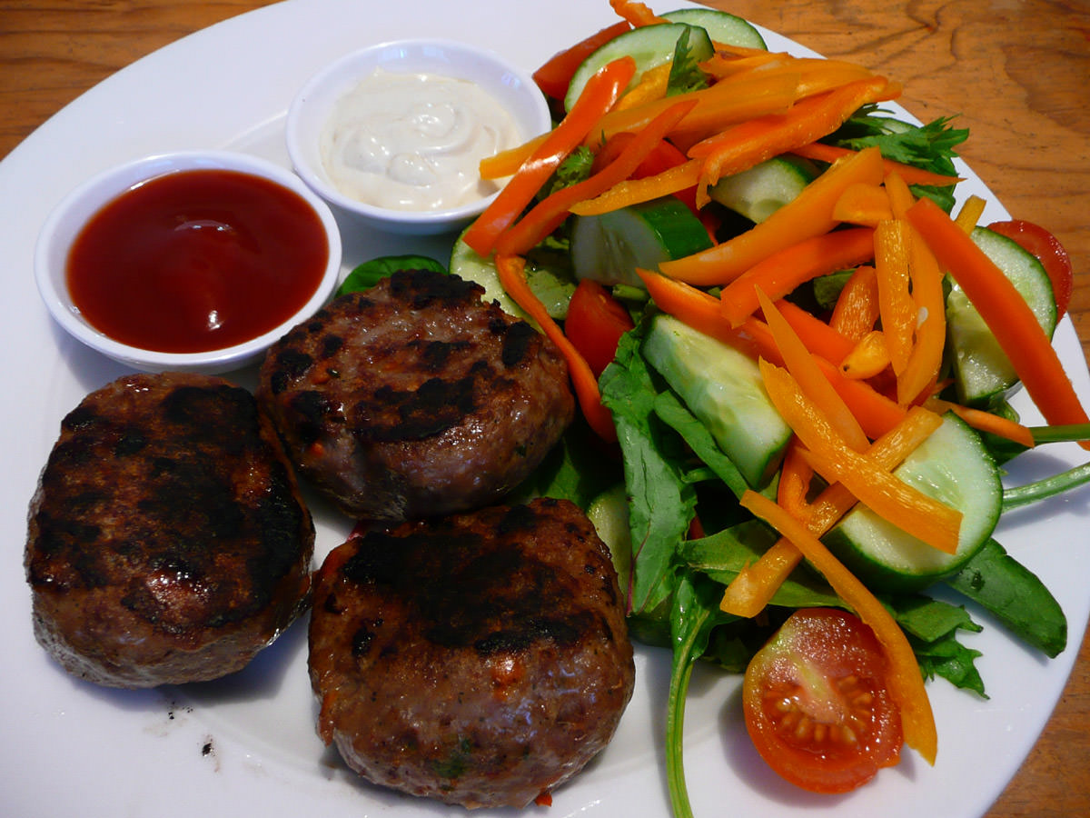 Beef and vegetable rissoles with salad