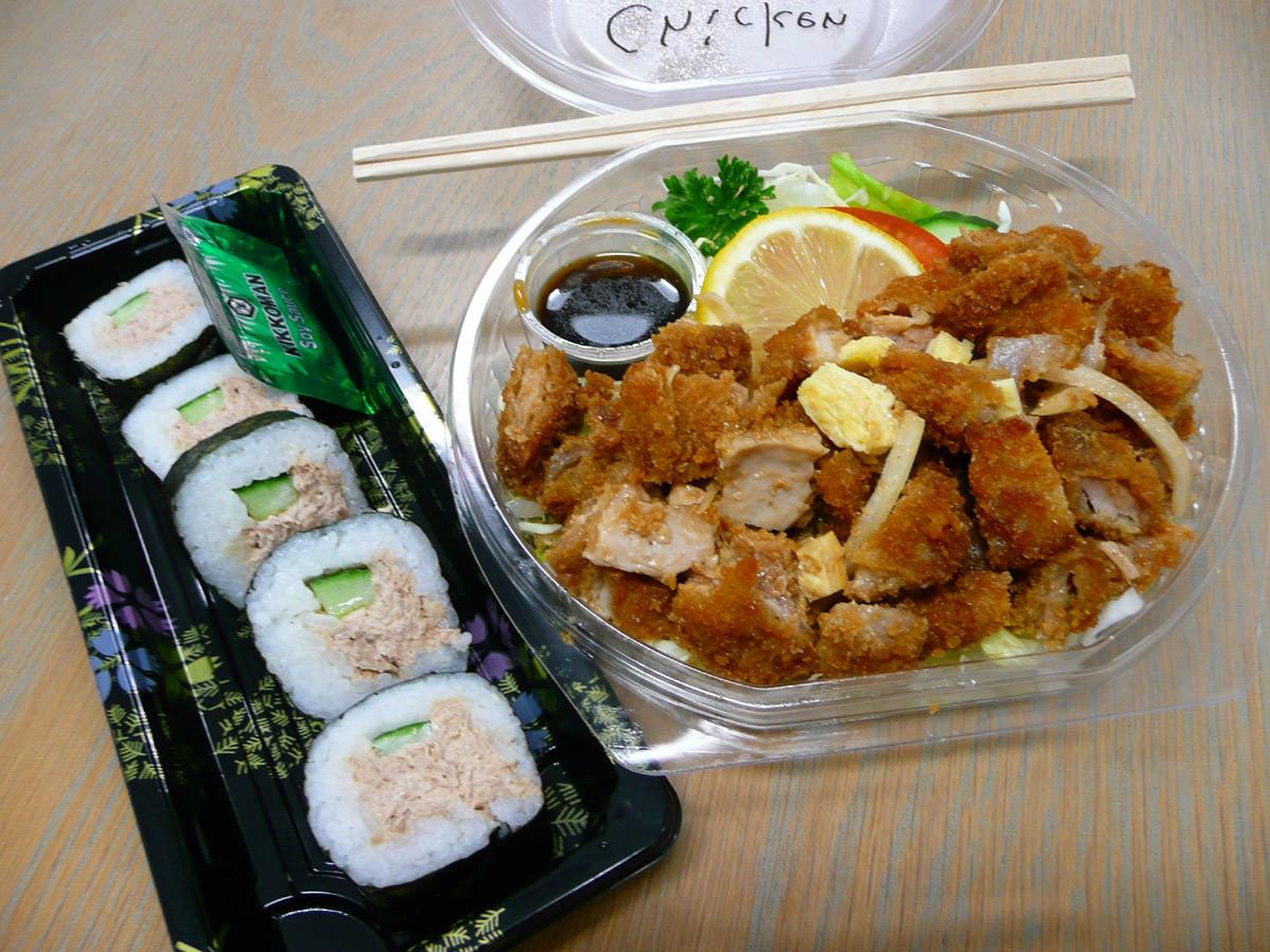 Tuna mayo sushi and chicken katsu salad