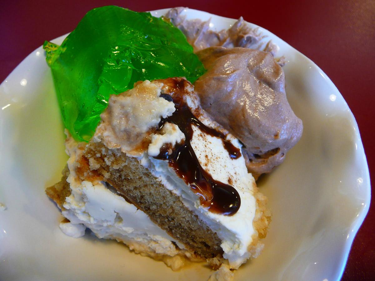 Tiramisu, chocolate mousse and green jelly