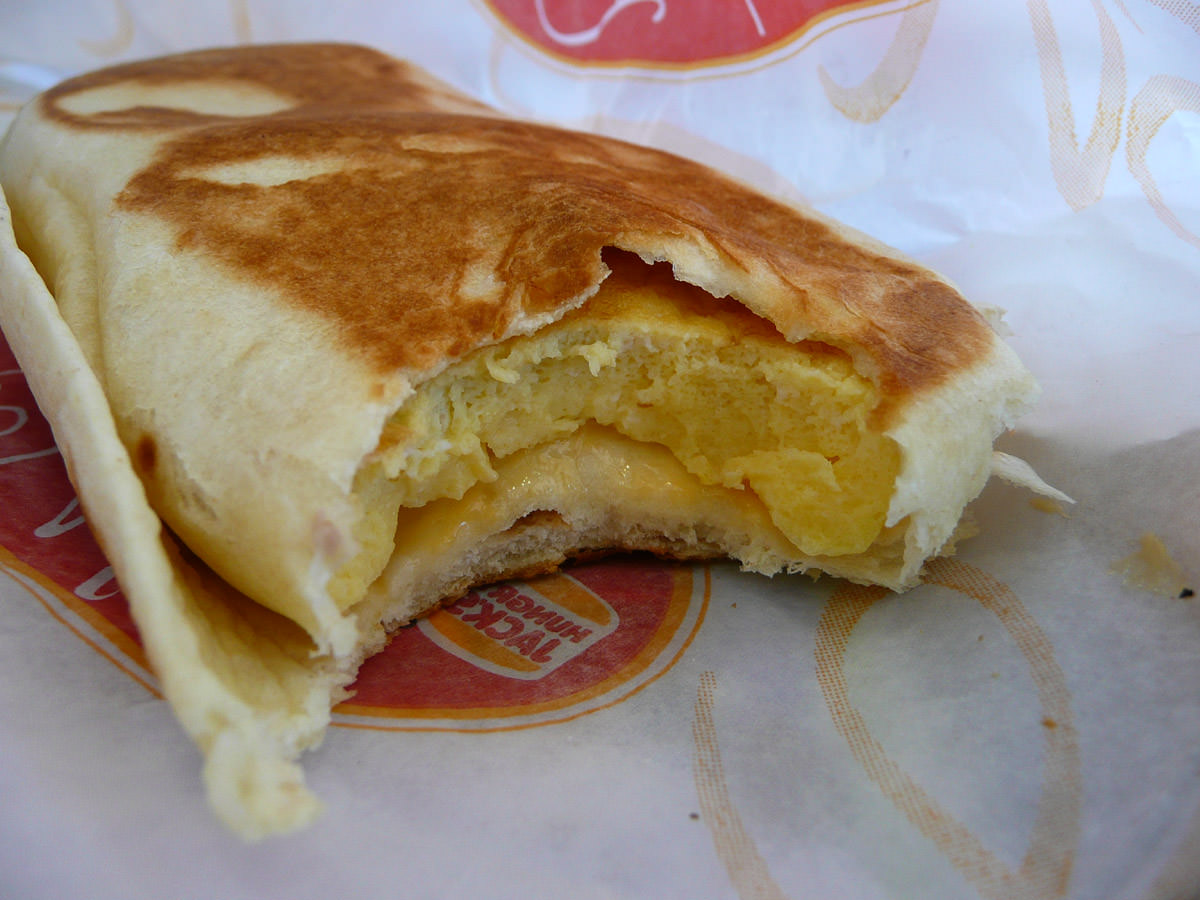 Cheesy omelette wrap innards