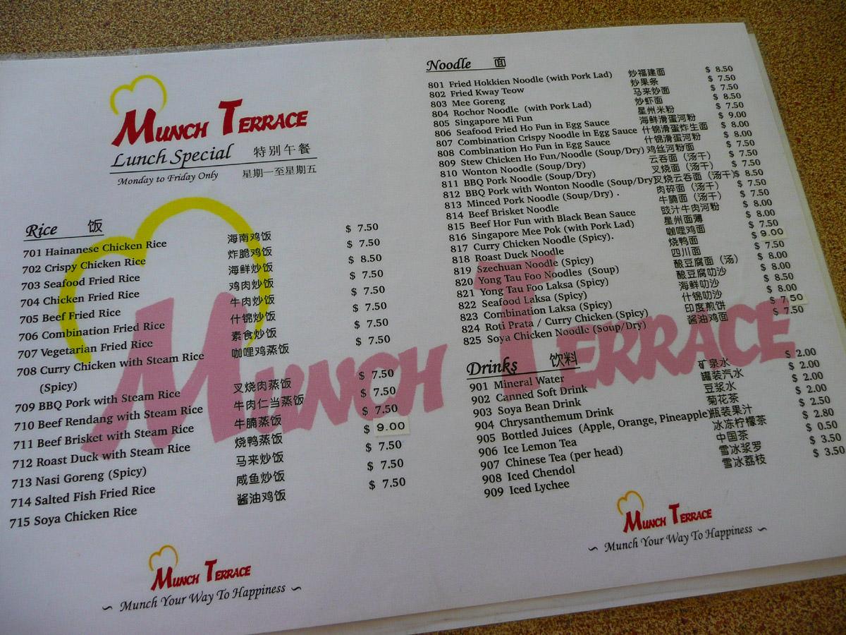 Munch Terrace menu