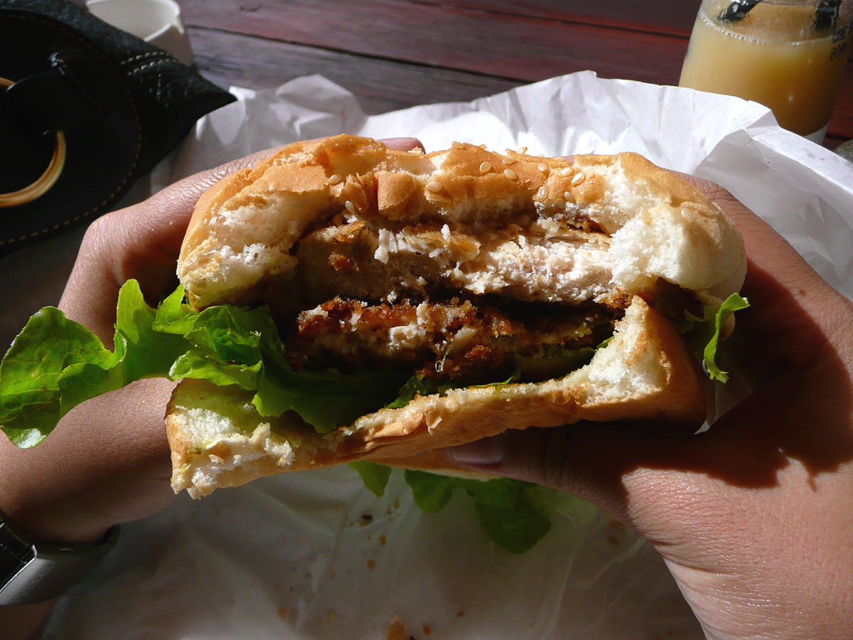 Chicken schnitzel burger innards