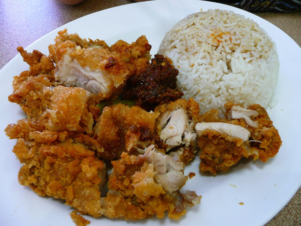 Crispy chicken rice with a big blob of sambal