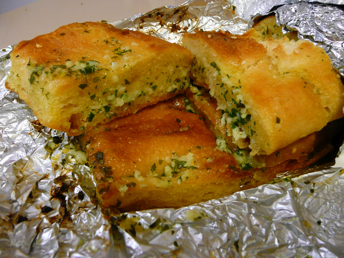 Garlic bread made with Turkish bread
