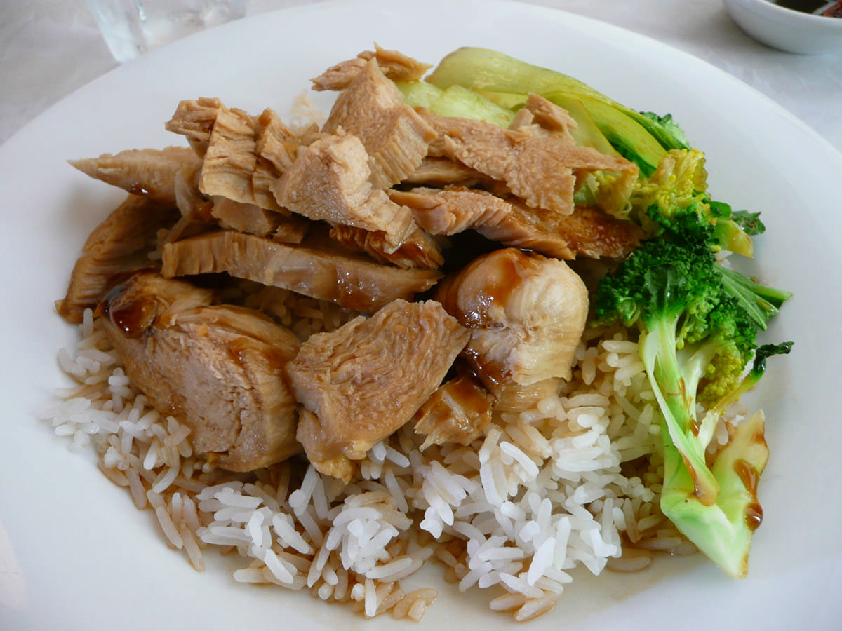 Soy sauced chicken rice