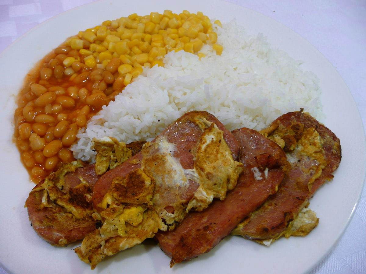 SPAM and egg, rice, baked beans and corn