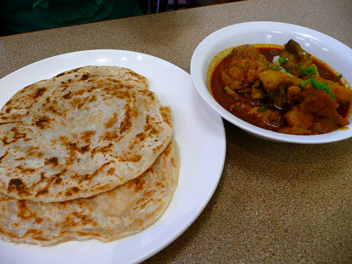 Roti prata and chicken curry