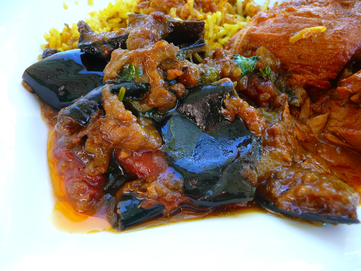 Eggplant curry close up (quite oily!)