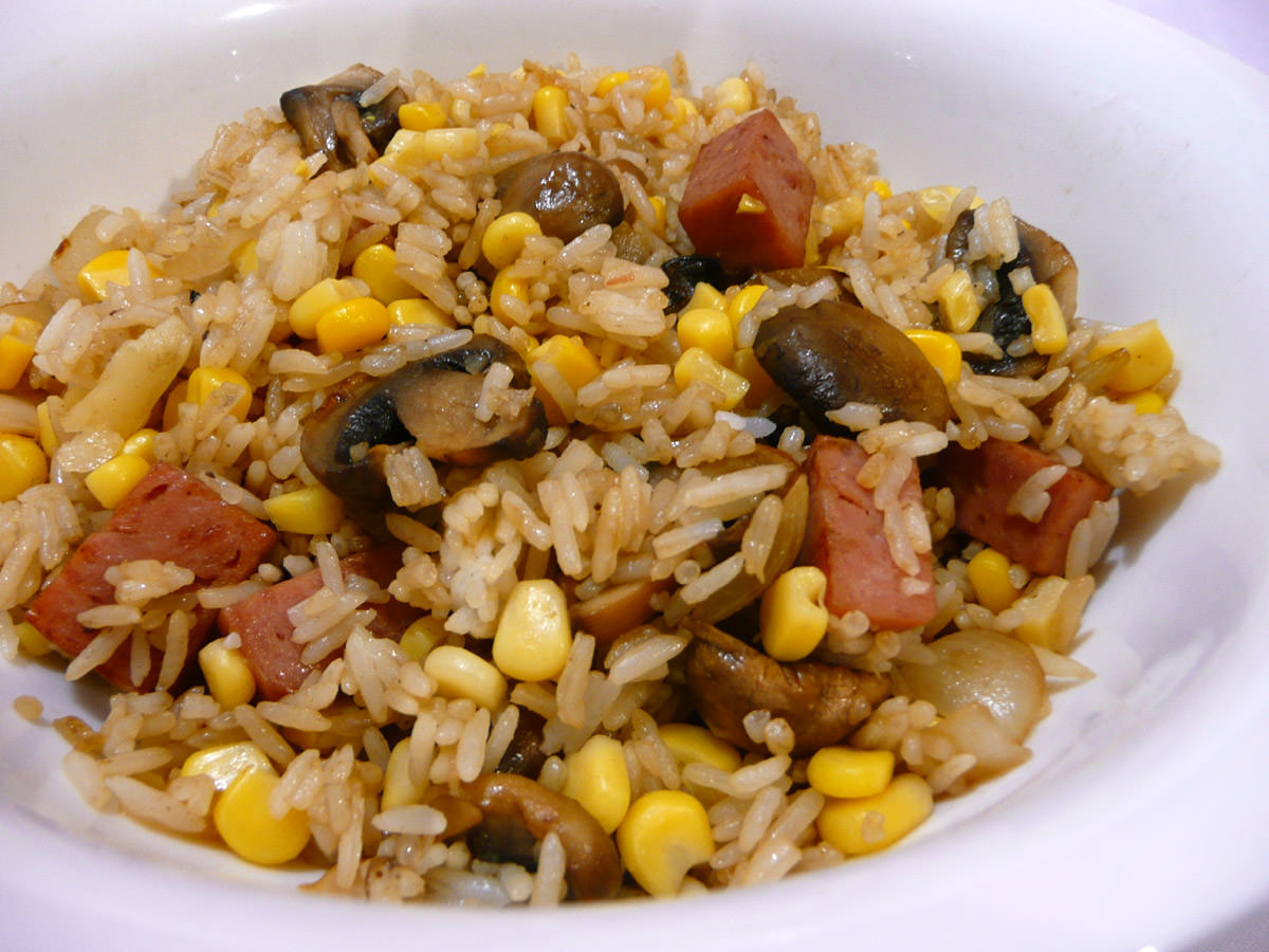 SPAM, mushroom and corn fried rice