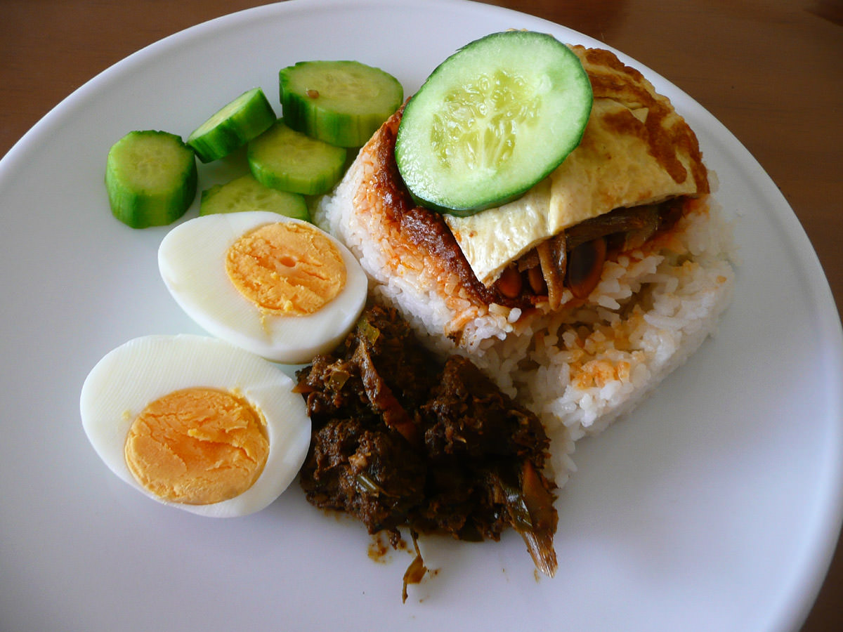 Nasi lemak with added trimmings