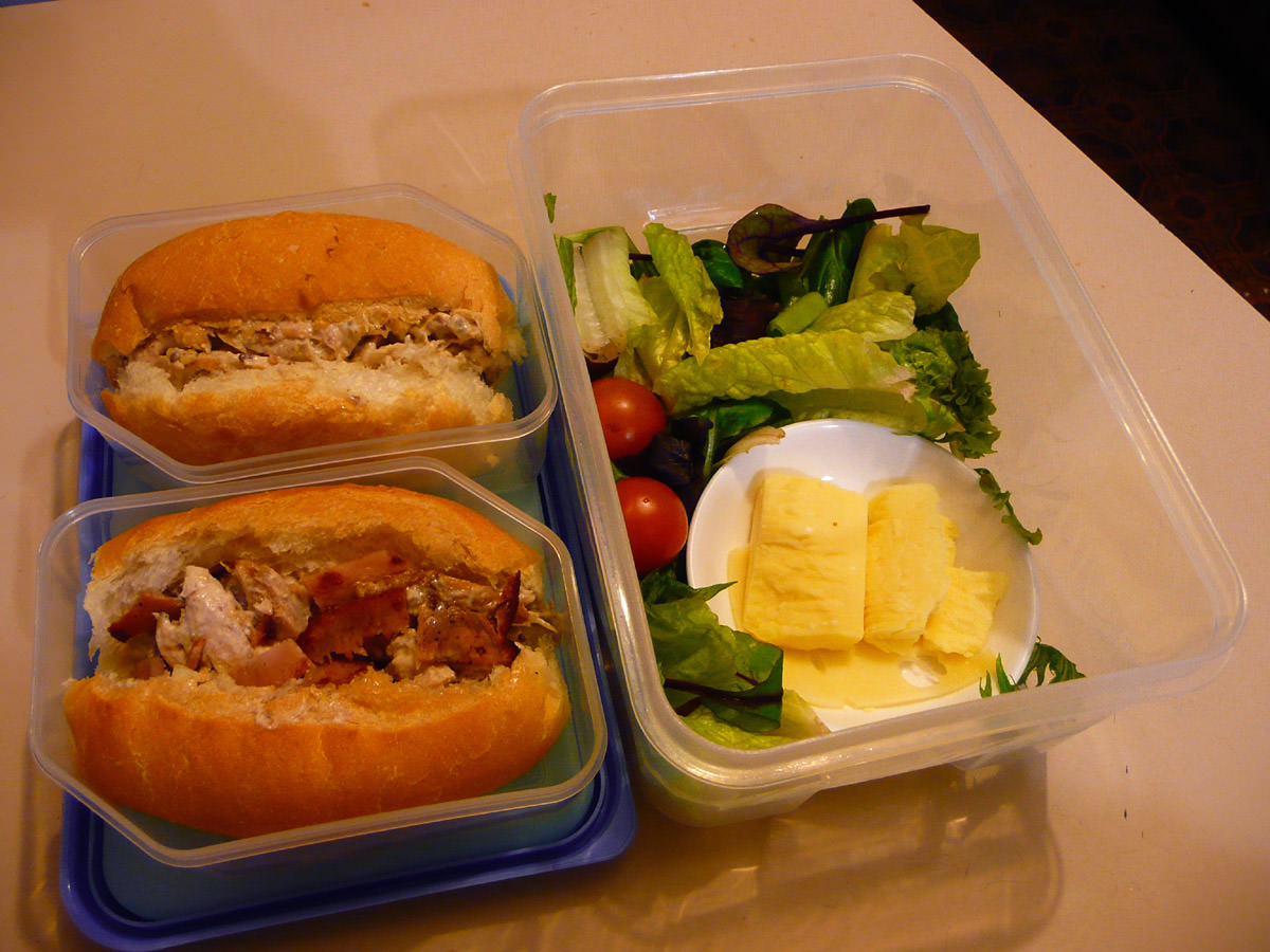 Chicken and mayo rolls, salad and cheese