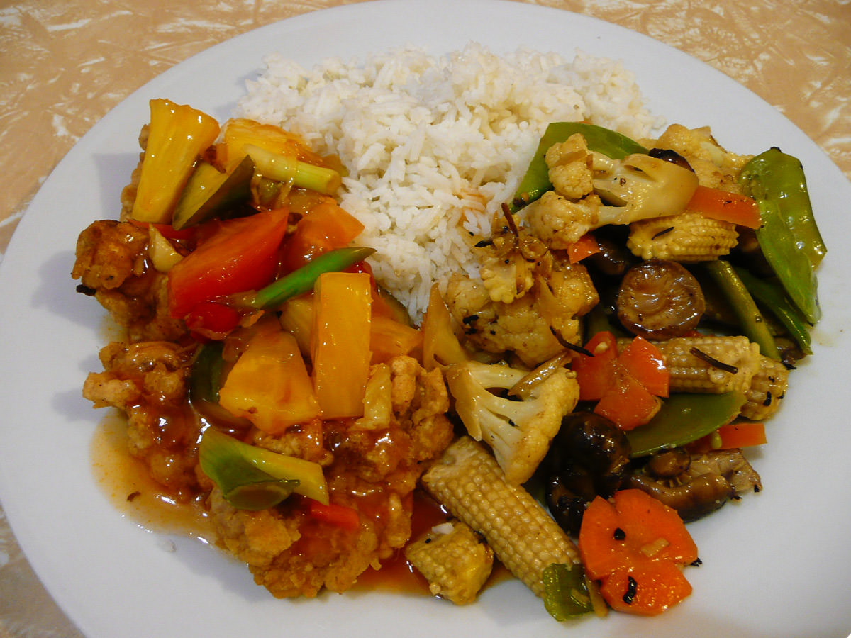 Sweet and sour pork, stir-fried vegies and rice
