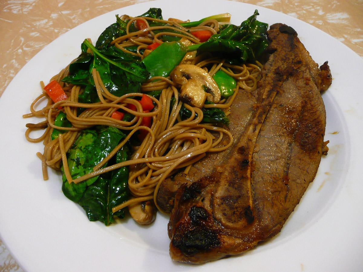 Teriyaki Y-Bone steak with stir-fried soba noodles