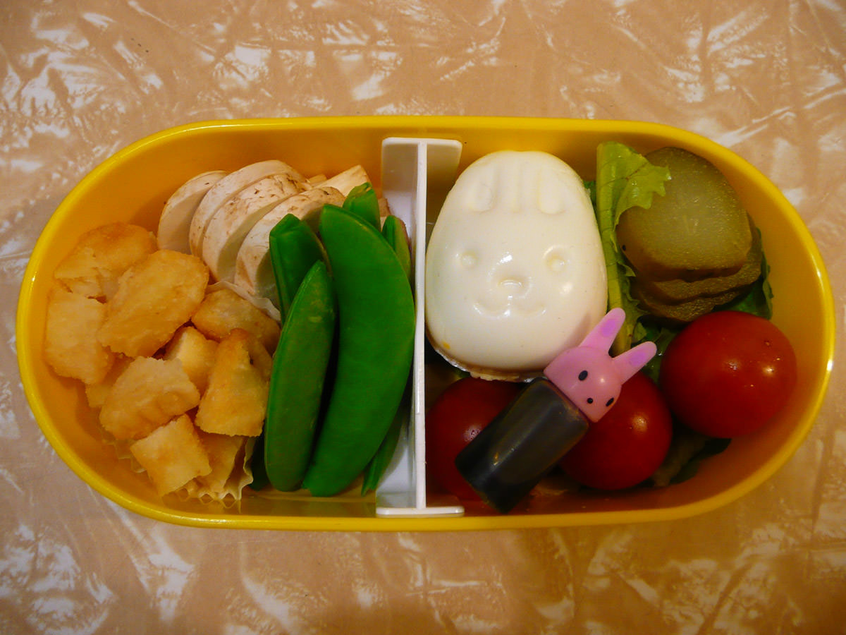 From my bento - bunny hard-boiled egg and other goodies