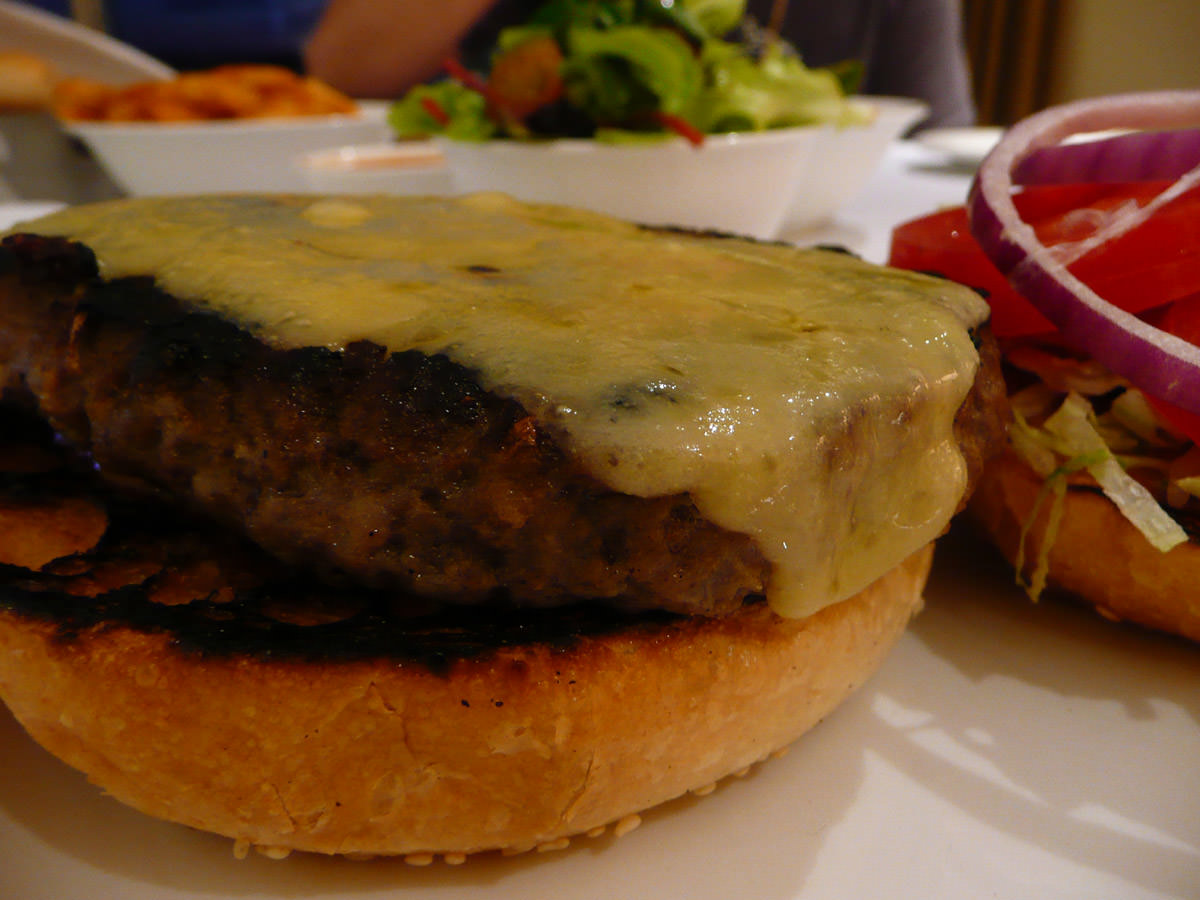 Burger with melted cheese