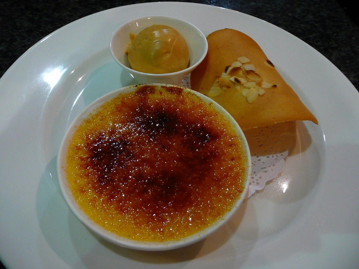 Vanilla creme brulee with caramel ice cream
