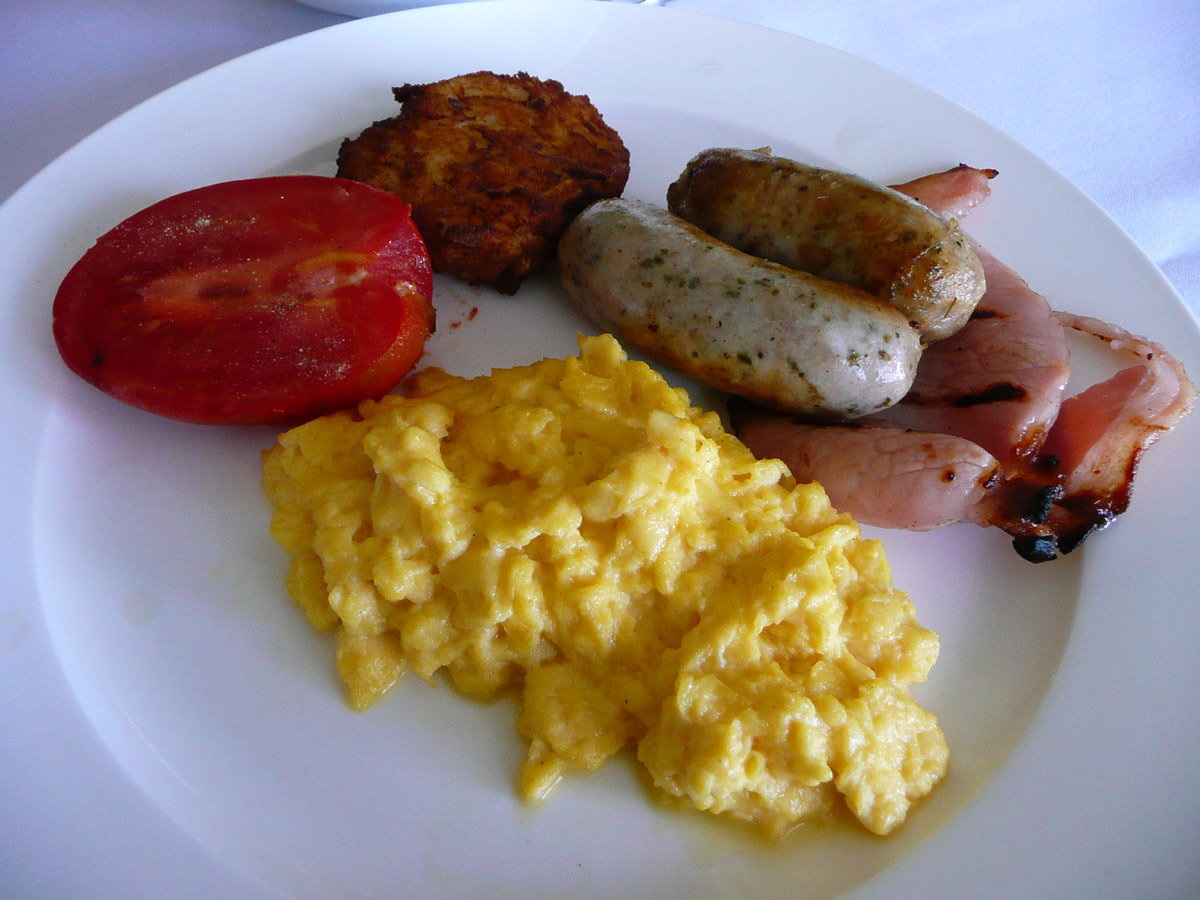 My plate, with scrambled eggs