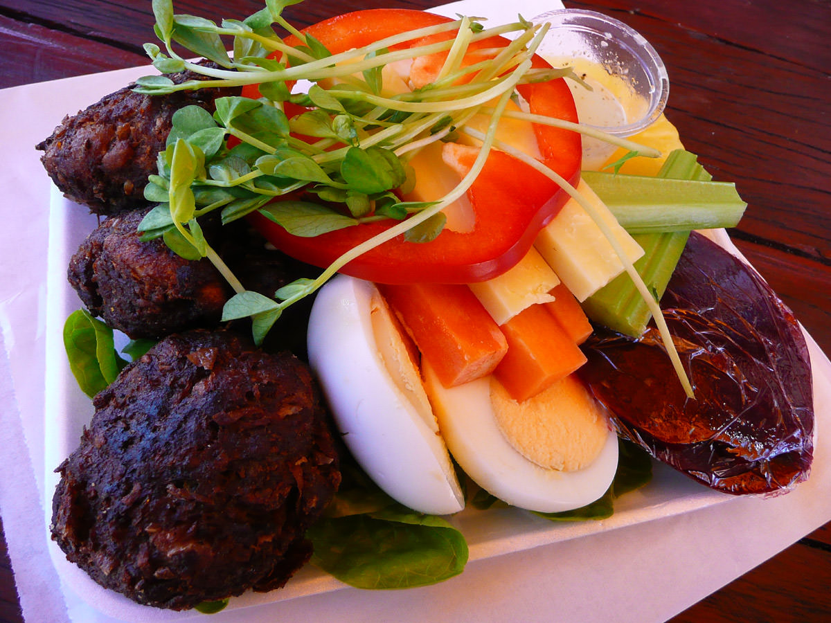 Rissoles and salad plate