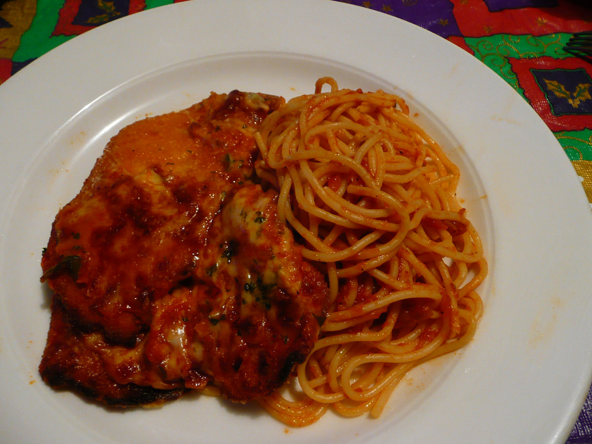 Chicken parmigiana with spaghetti napolitana