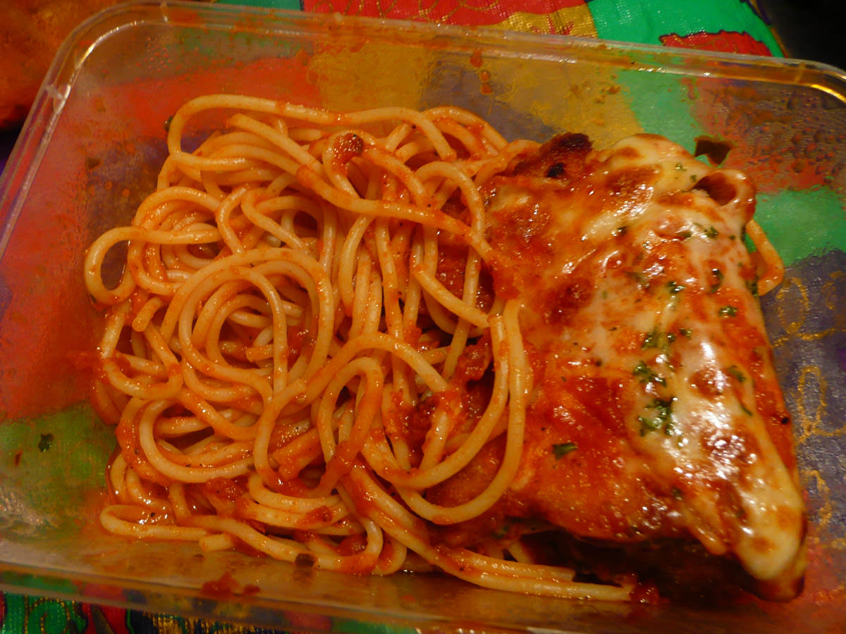 Chicken parmigiana with spaghetti napolitana - leftovers for later
