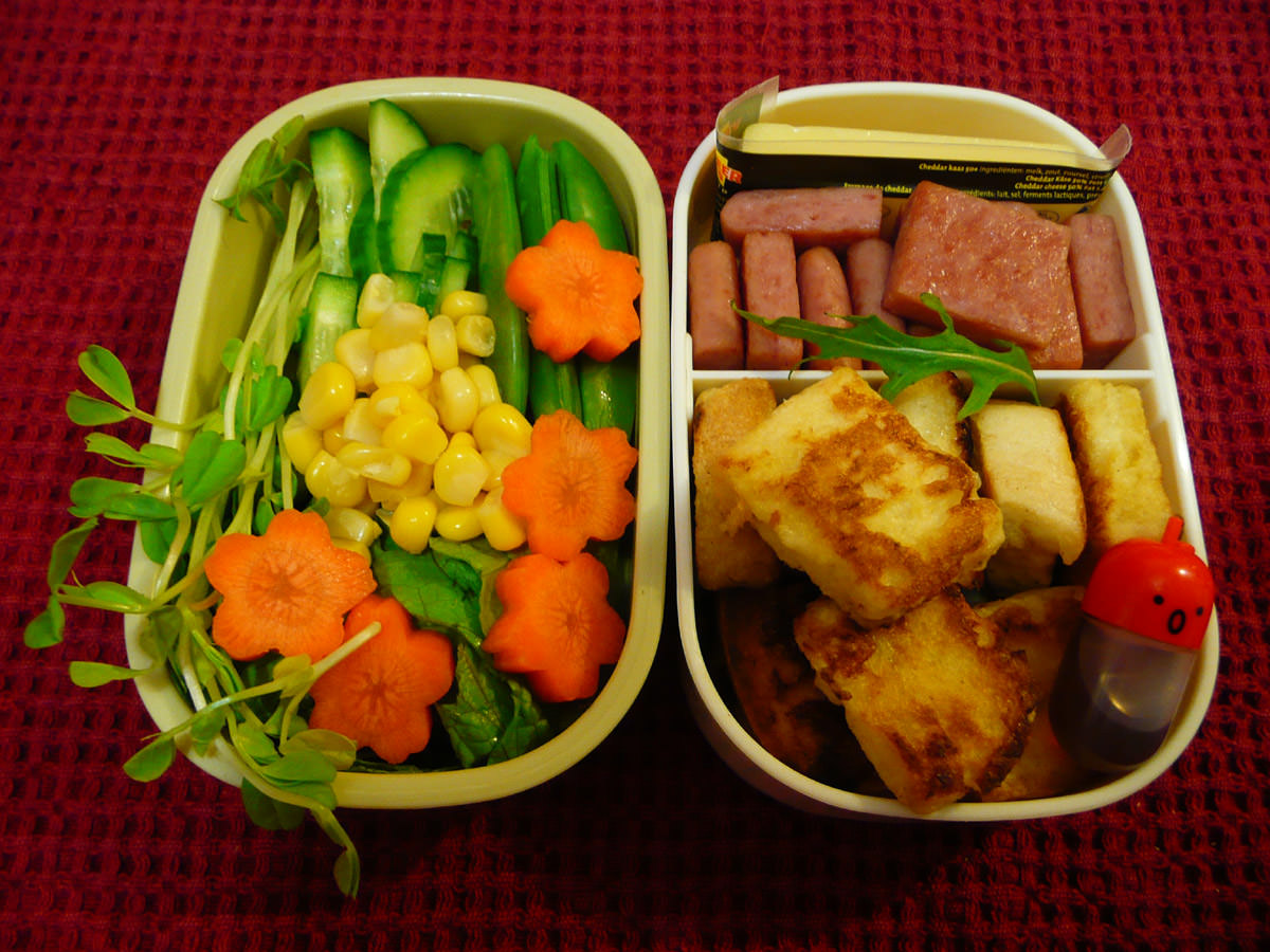Thursday bento lunch with salad, SPAM and French toast