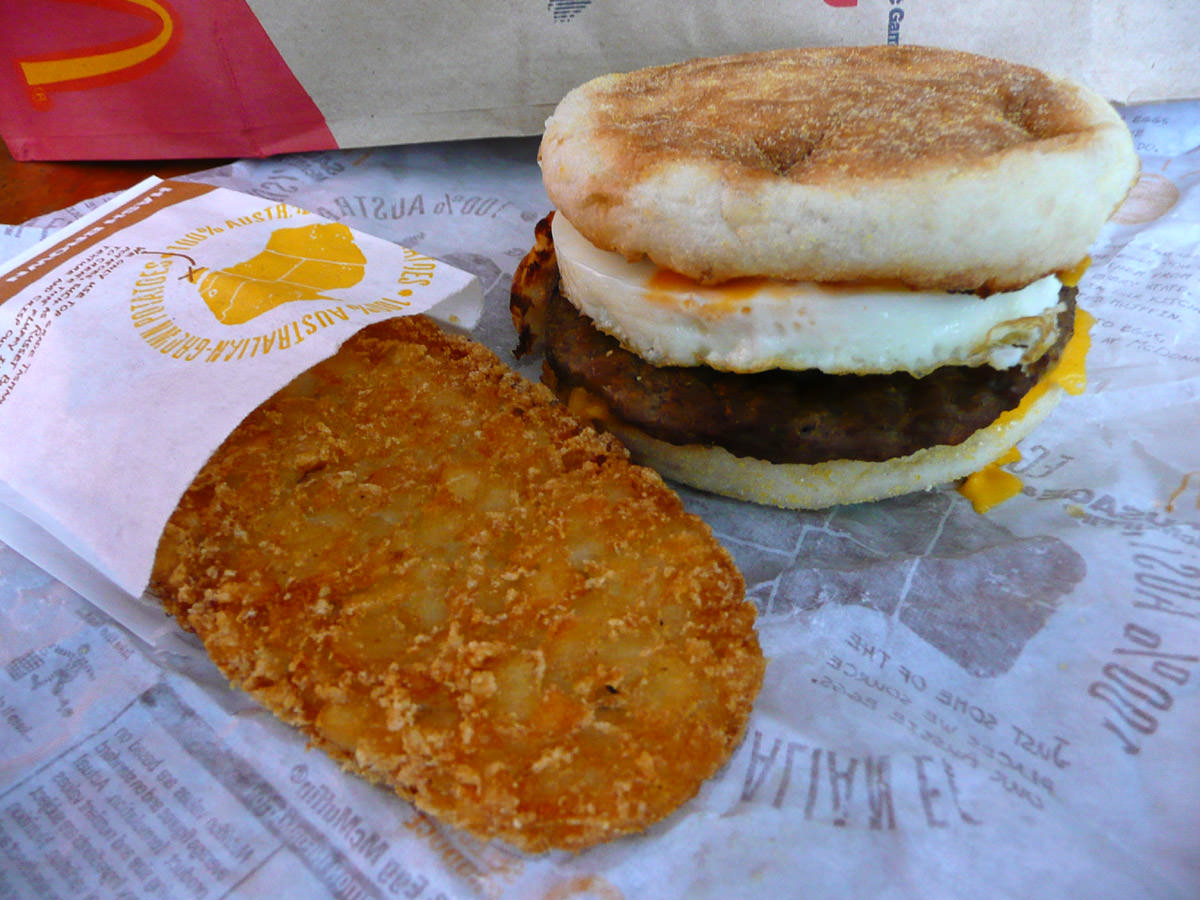 Sausage and Egg McMuffin and Hash Brown