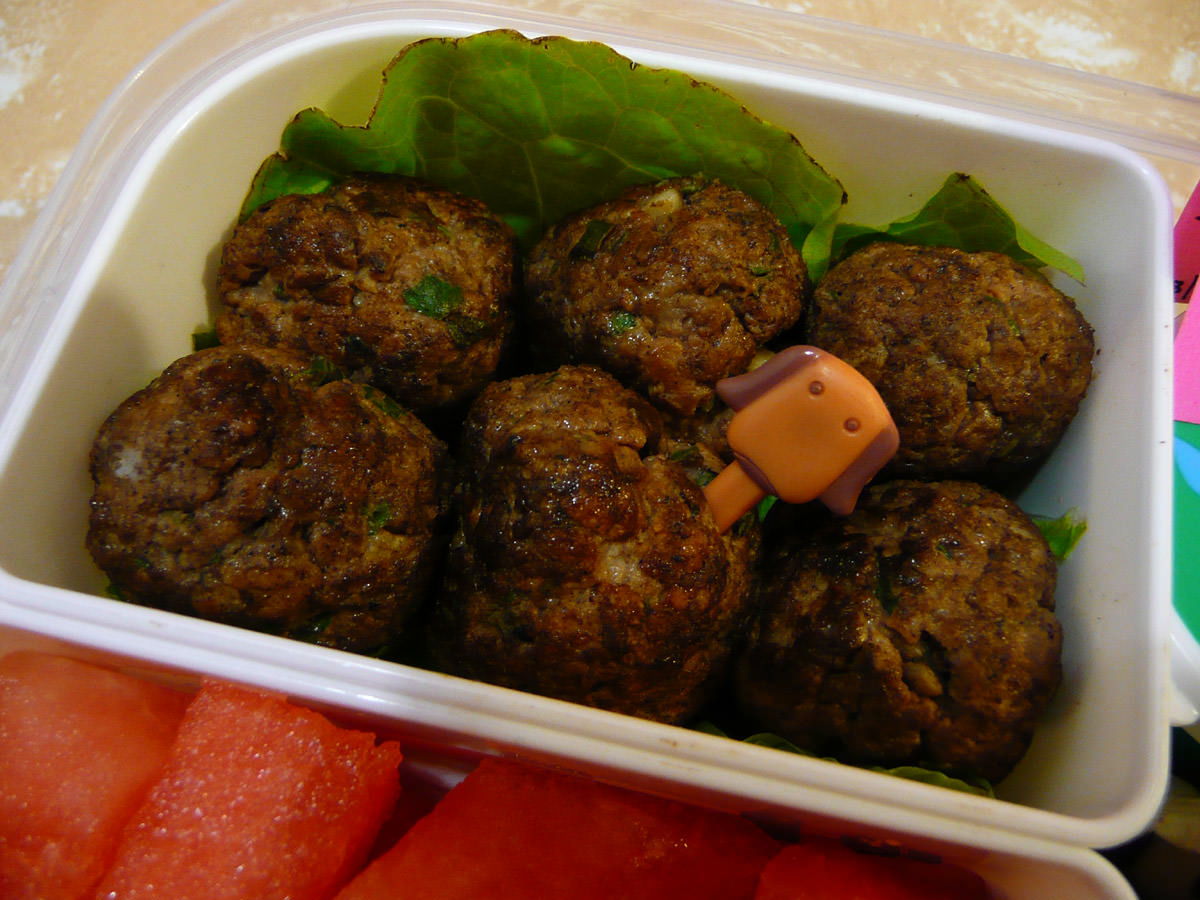 Meatballs with dog food pick