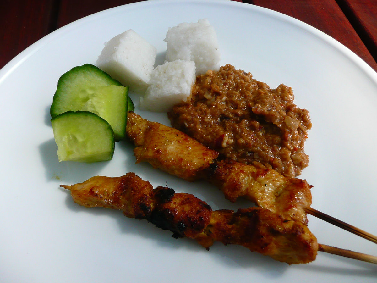 Chicken satay with trimmings
