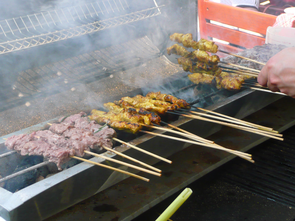 Chicken satay and lamb skewers