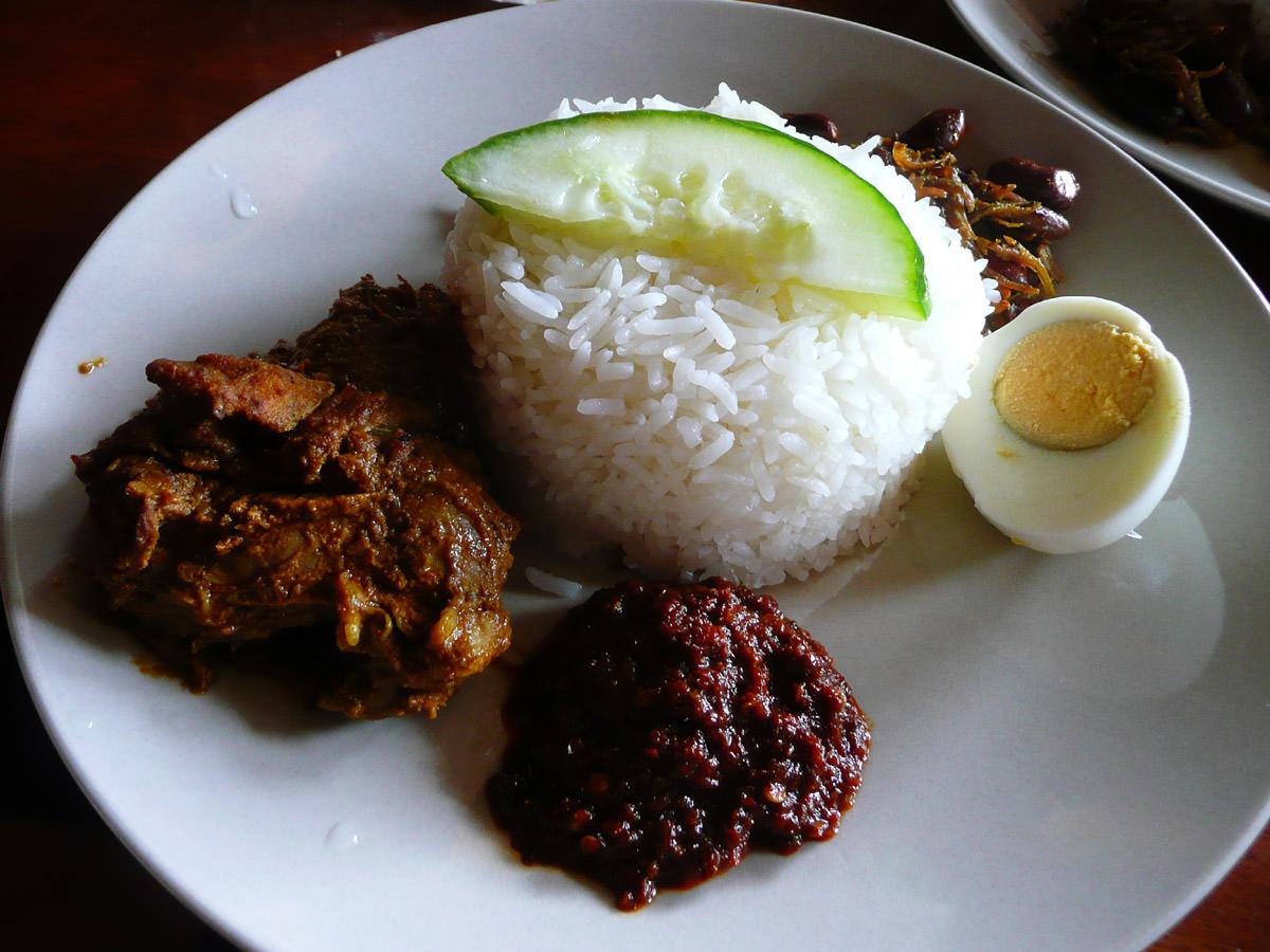 Nasi lemak with curry lamb