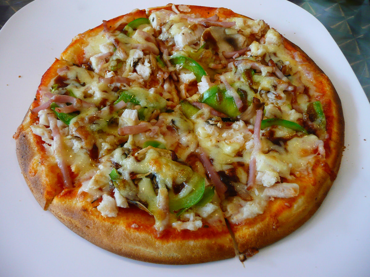 Chicken, bacon and BBQ sauce pizza from East End Pizza Bar