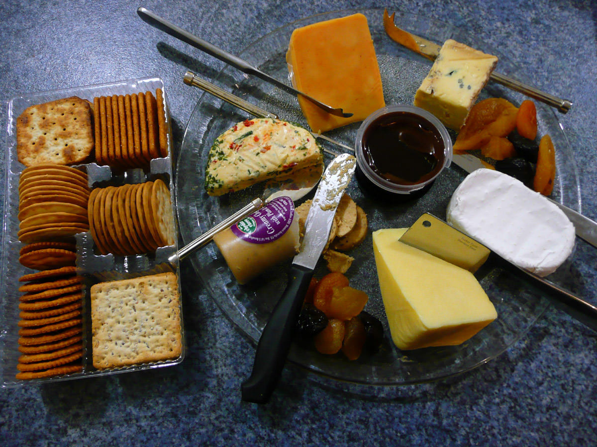 Cheese platter and crackers