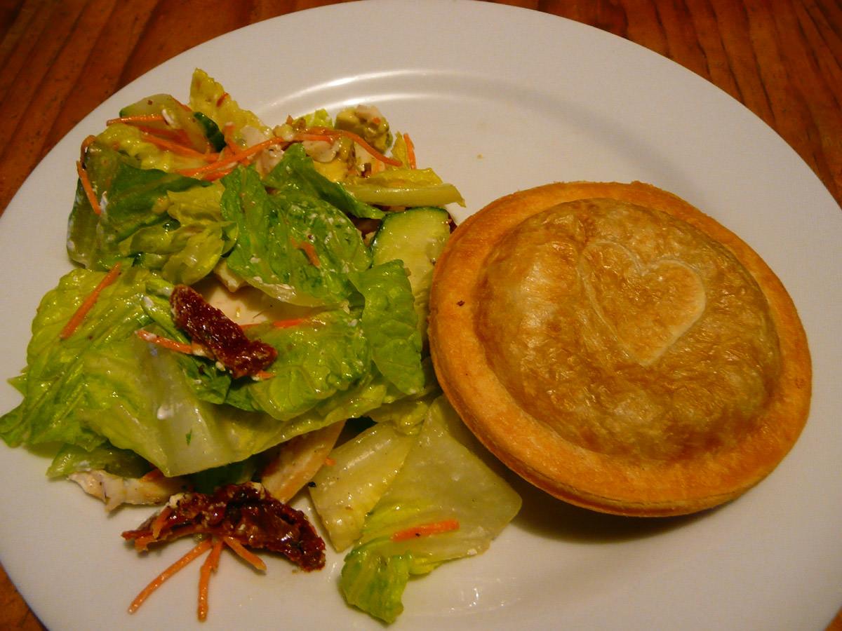 Jesters Pavarotti pie and Sumo Chicken Low GI salad