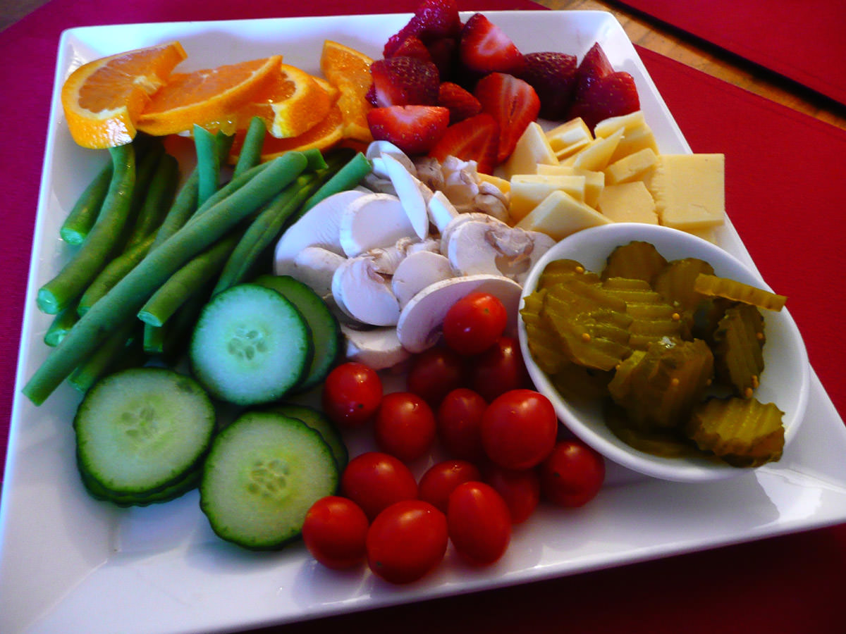 Vegetables, cheese, fruit and pickles