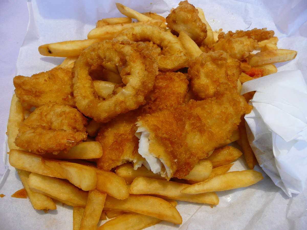 Fish and chips (a seafood basket, actually)