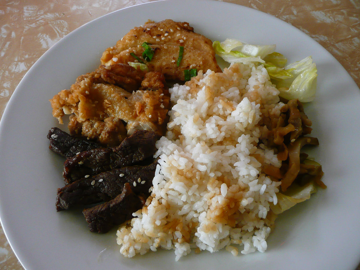 Teriyaki fish, chicken and beef