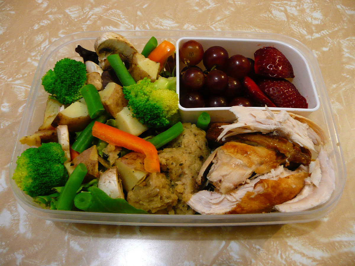 My Wednesday bento - cold BBQ chicken and stuffing with vegetables and fruit