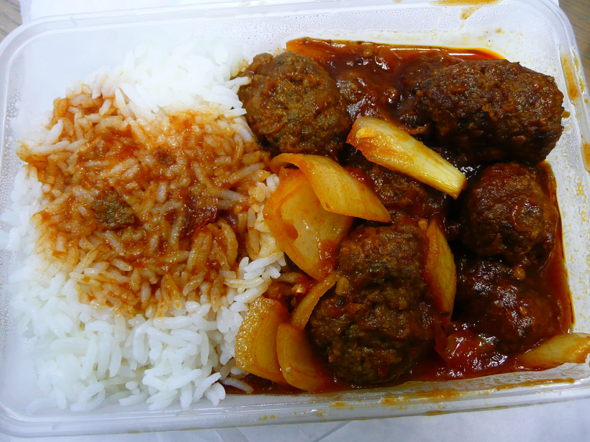Meatballs and rice