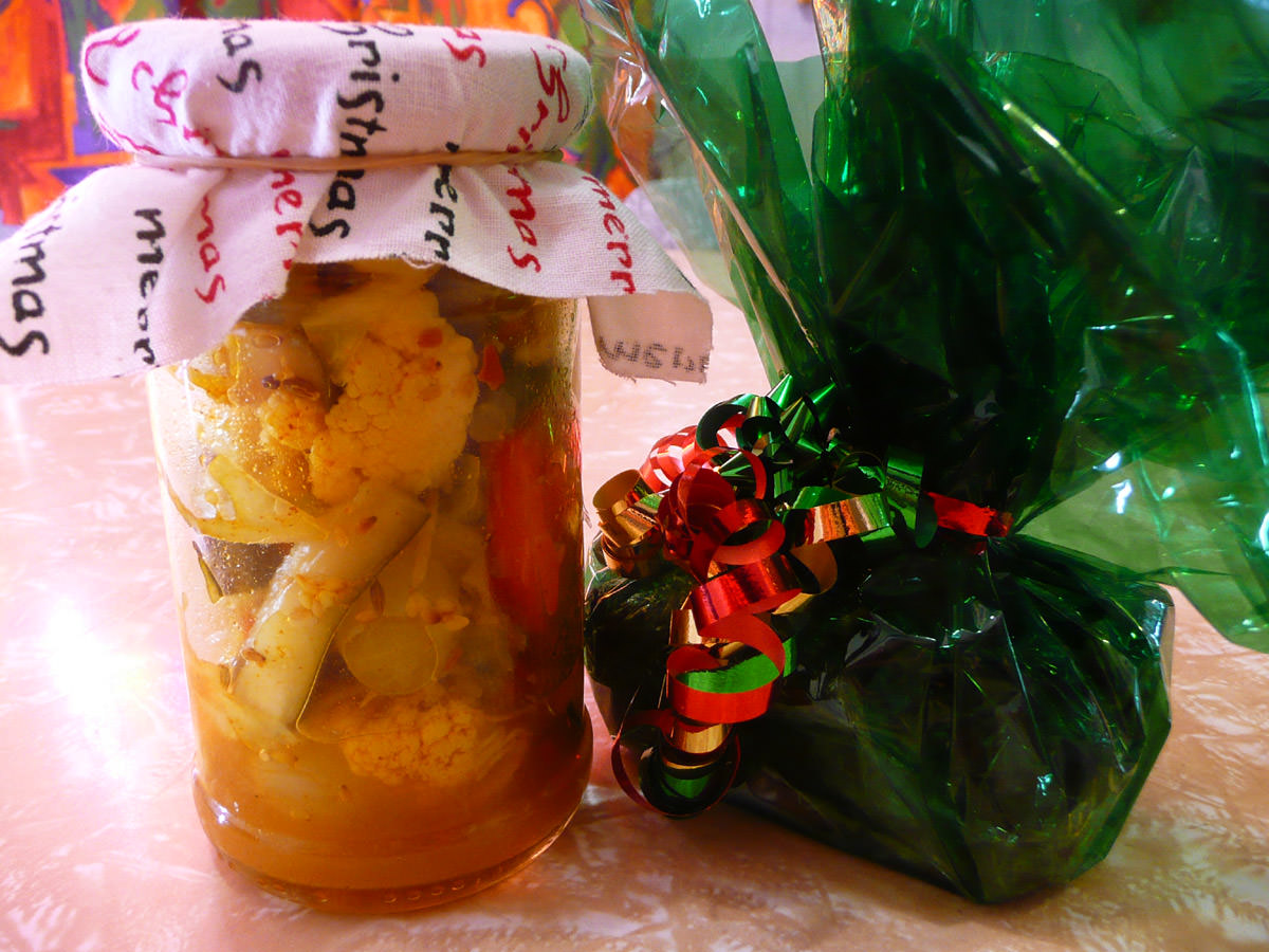 Pickled vegetables and Christmas cake