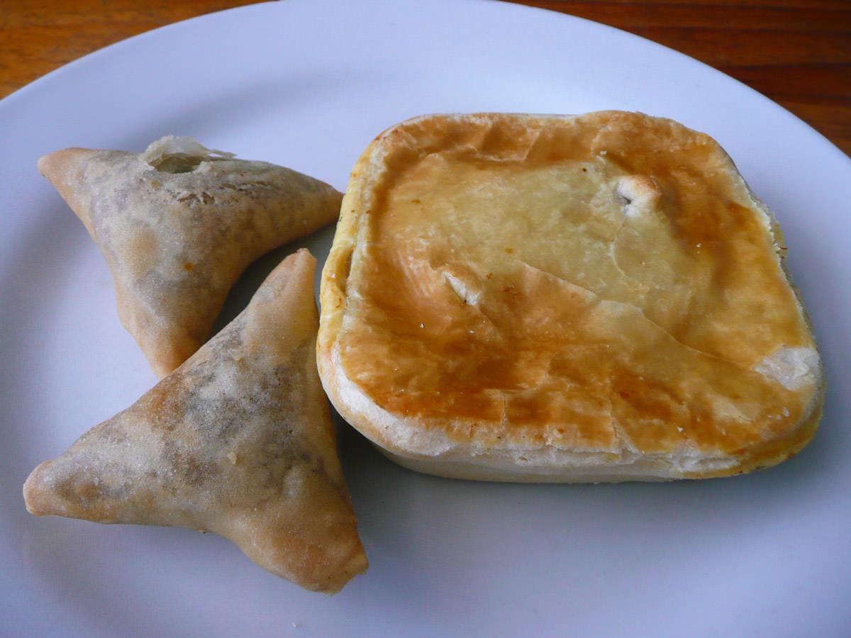 Chicken pie and samosas
