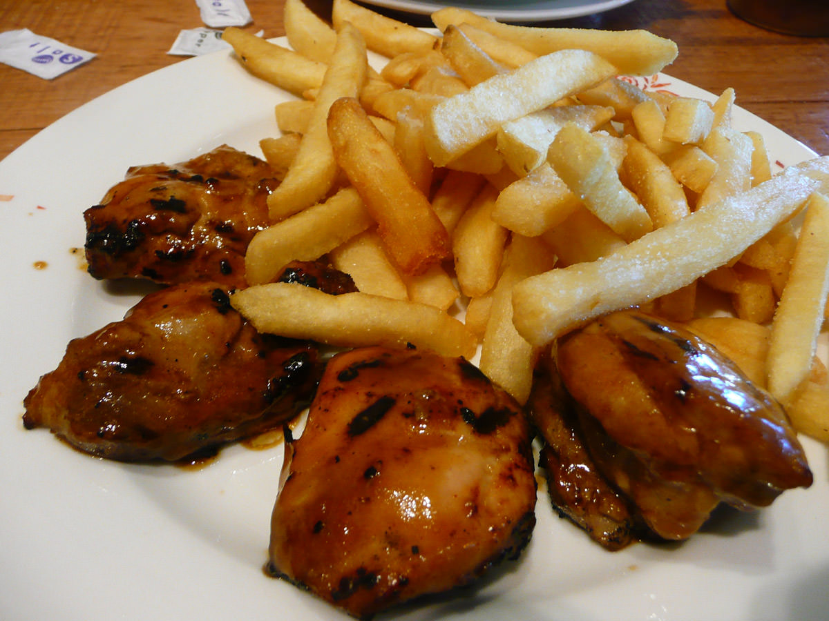 Nando's 4 BBQ chicken thighs with chips