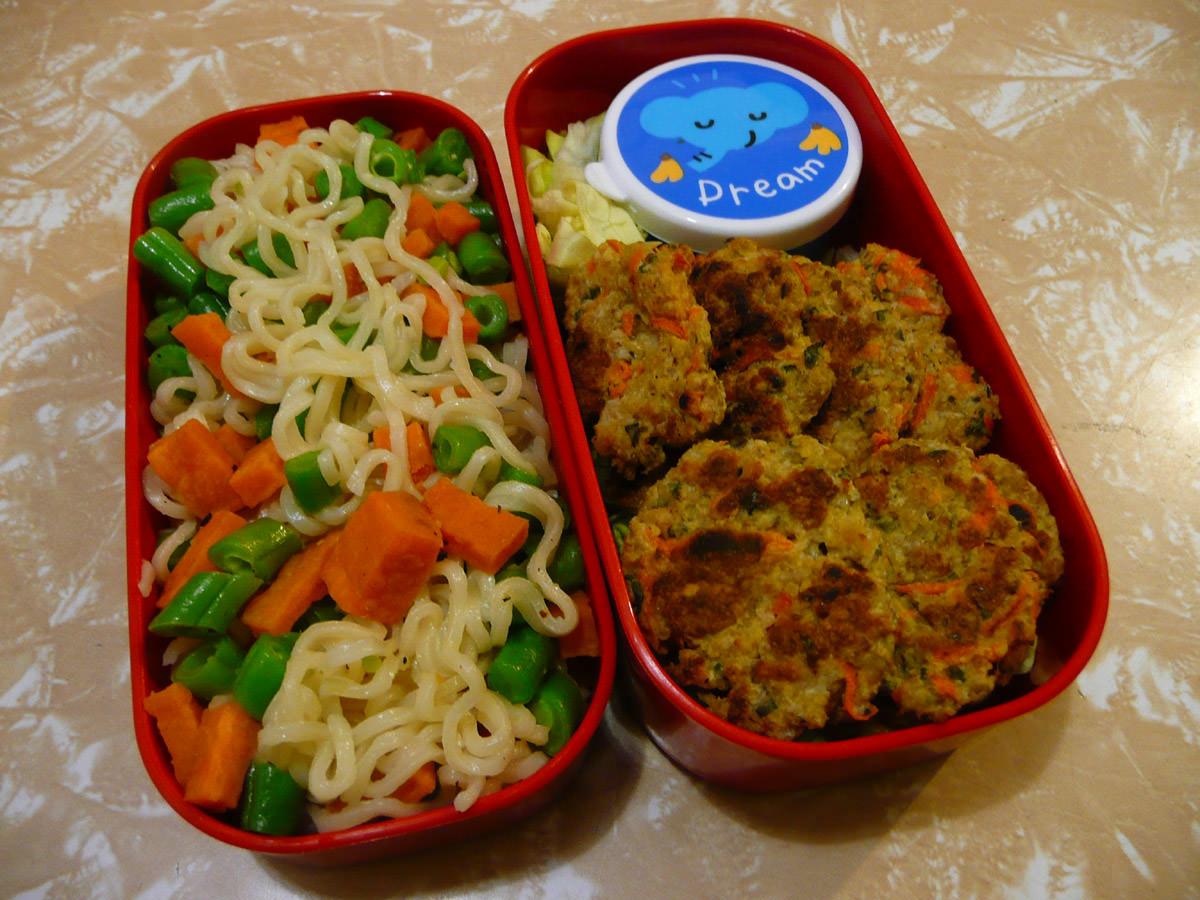 Chicken and vegetable patties with chilli jam, Maggi noodles with green beans and sweet potato