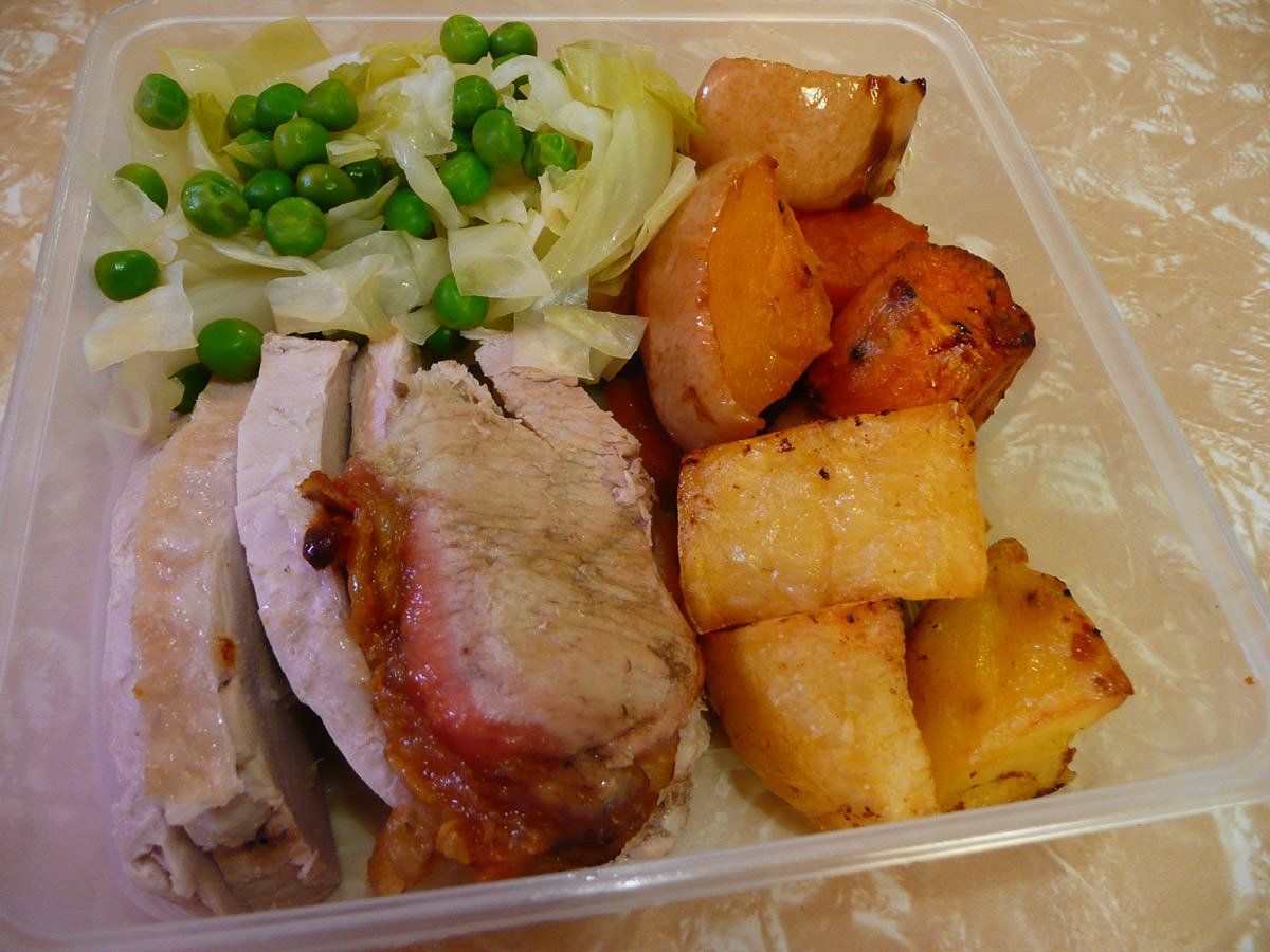 Roast pork and vegetables for work lunch