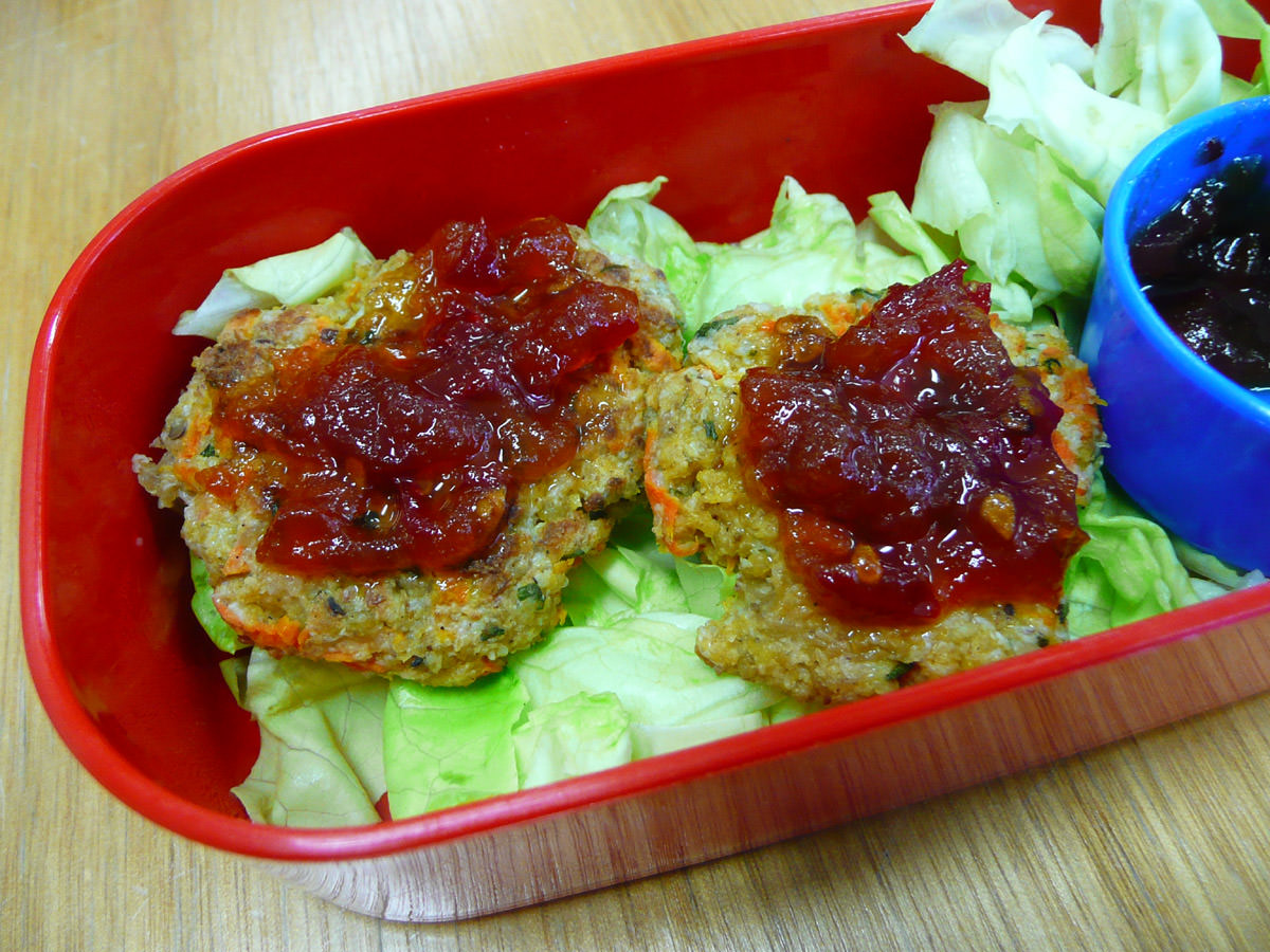 Close-up of chicken patties with chillli jam