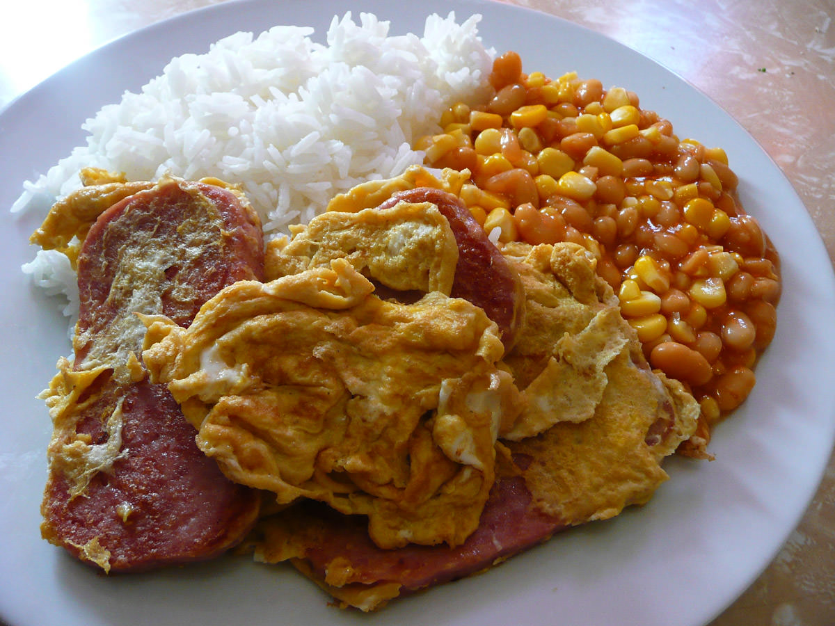 Fried SPAM and egg, baked beans and corn, rice