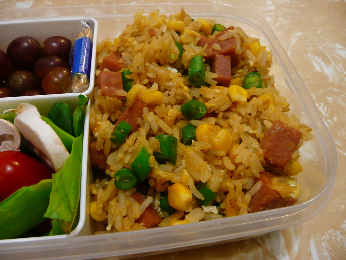 Close-up of SPAM fried rice